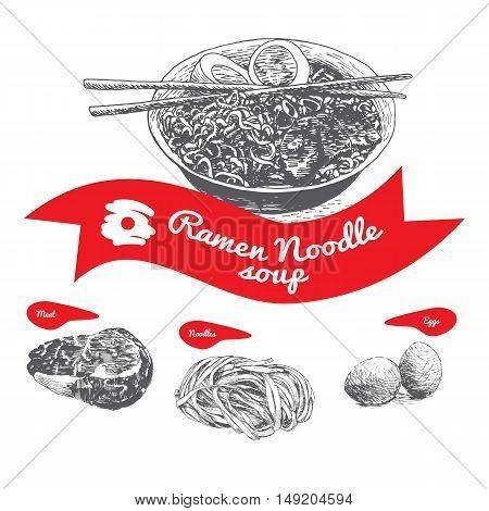 Ramen noodle soup illustration. Vector illustration of noodle soup