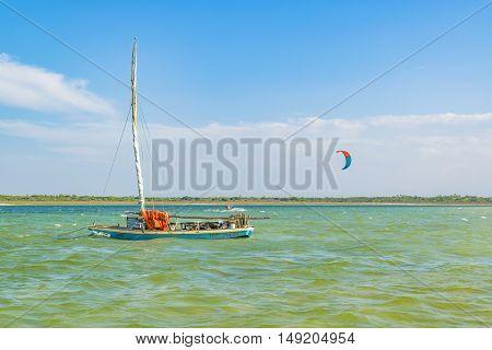 JERICOACOARA, BRAZIL, DECEMBER - 2015 - Small boat at the Lagoa de Paraiso beach in Jericoacoara Brazil