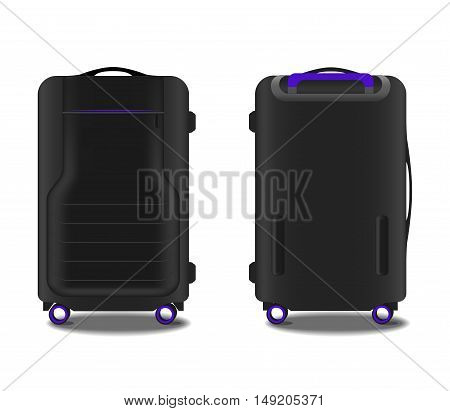 suitcase with a GPS system and violet backlight