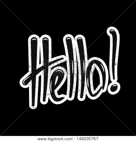 Hello lettering hand draw. Stock vector. Vector illustration.