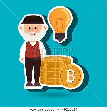 man bit coin idea vector illustration eps 10
