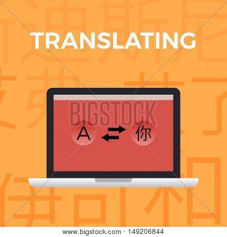Flat design modern vector illustration concept of translate work moment on orange background with Japanese symbols