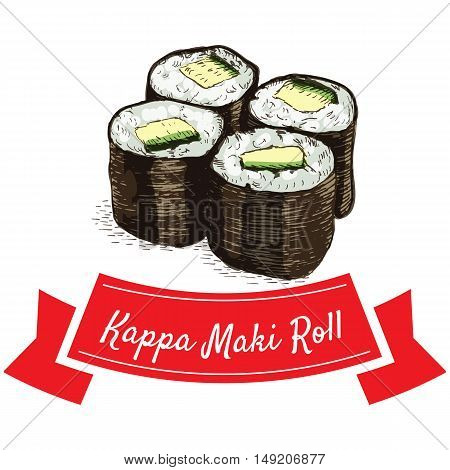 Kappa Maki roll illustration. Vector colorful illustration.