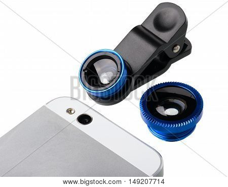 Mobile photography clip lens kit from two lens. The lens kit isolated on white background.