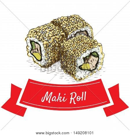 Maki roll colorful illustration. Vector colorful illustration.