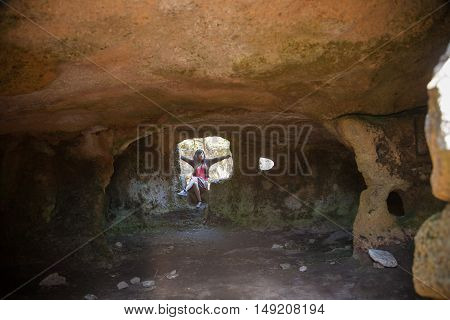 Woman In Prehistoric Cave