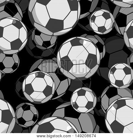 Football Ball 3D Seamless Pattern. Sports Accessory Ornament. Soccer Volume Background. Texture For