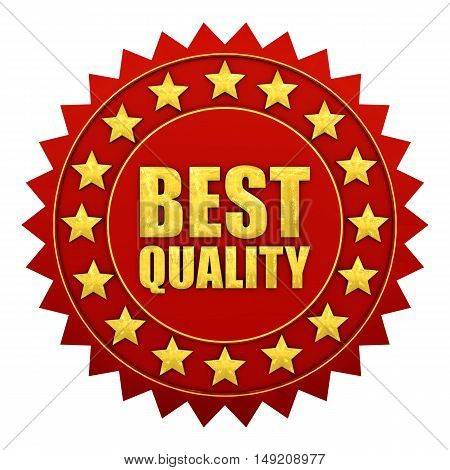 Best quality warranty red and gold label , 3d illustration