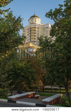 BELGOROD RUSSIA - SEPTEMBER 10 2016: Holy Trinity Boulevard in Belgorod Russia. Residential complex