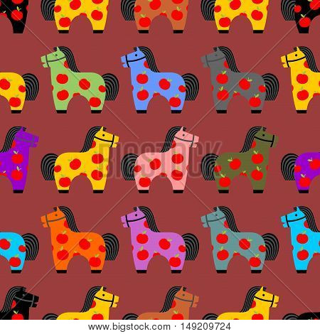 Horse Toy Seamless Pattern. Childrens Equine Dapple Ornament. Hoss Kids Background. Texture Of Fabri