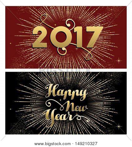 New Year 2017 Gold Firework Greeting Card Set