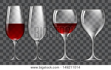 set of wine glasses of different shapes on a gray plaid background