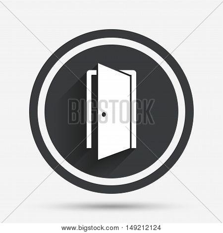 Door sign icon. Enter or exit symbol. Internal door. Circle flat button with shadow and border. Vector