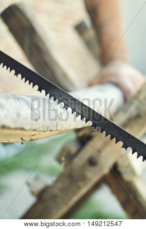 Hand cutting wood with hand saw. Selective focus with shallow depth of field.