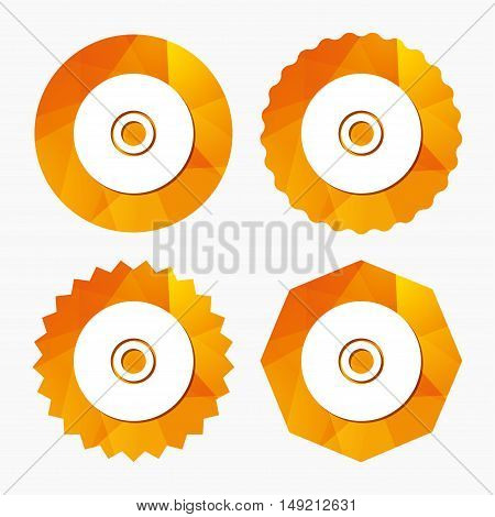CD or DVD sign icon. Compact disc symbol. Triangular low poly buttons with flat icon. Vector