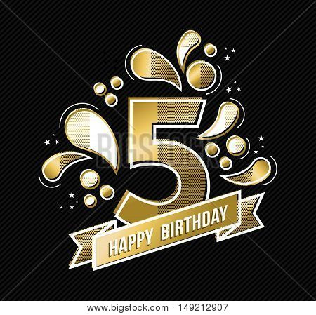 Happy birthday number 5 gold color design for five years in modern style with geometric shapes. EPS10 vector.
