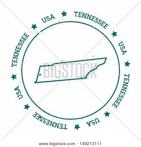 Tennessee Vector Map. Retro Vintage Insignia With Us State Map. Distressed Visa Stamp With Tennessee