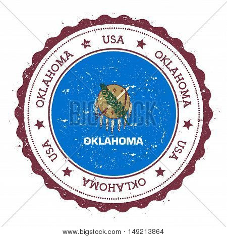 Oklahoma Flag Badge. Grunge Rubber Stamp With Oklahoma Flag. Vintage Travel Stamp With Circular Text