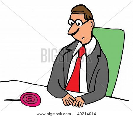 Business color illustration of businessman looking down at a lollipop.