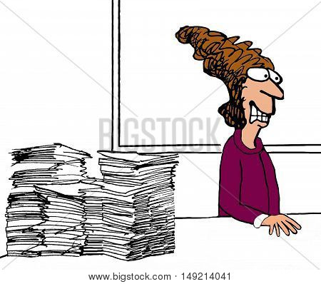 Business illustration of a grimacing businesswoman turning away from all her paperwork.