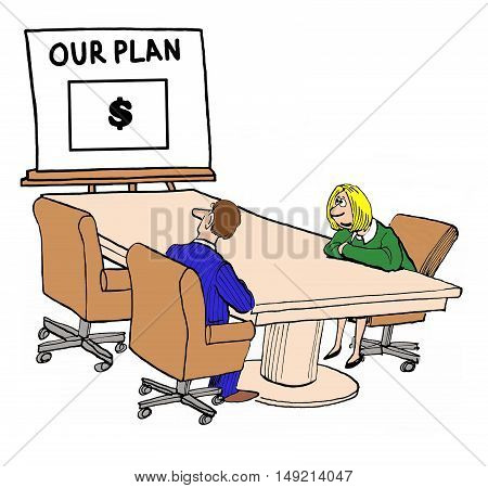 Business color illustration showing two businesspeople looking at a plan to make money.