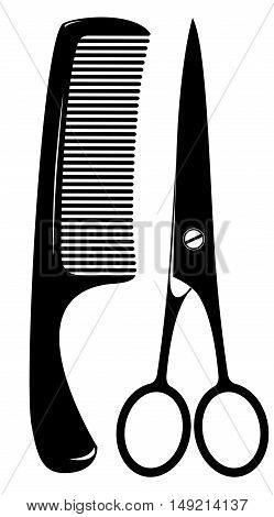 comb and scissors for cutting hair on a white background
