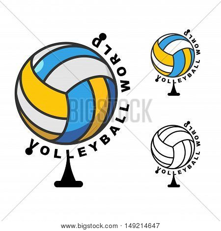 World Volleyball. Globe Ball Game. Sports Accessory As Earth Sphere. Sope Of Game Volleyball
