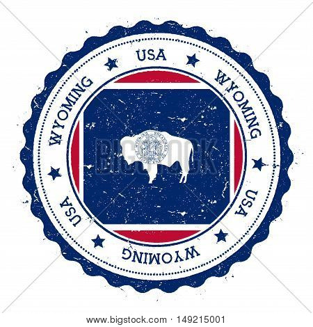 Wyoming Flag Badge. Grunge Rubber Stamp With Wyoming Flag. Vintage Travel Stamp With Circular Text,