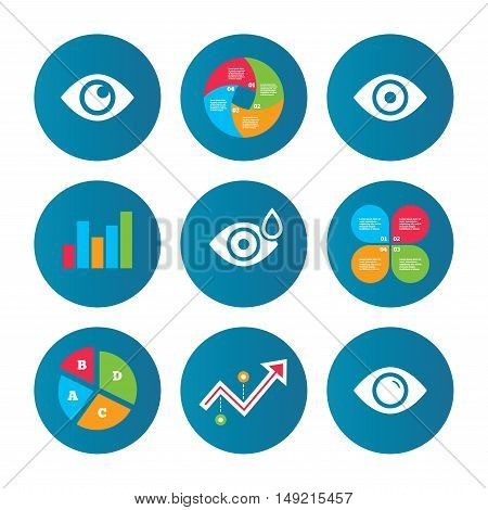 Business pie chart. Growth curve. Presentation buttons. Eye icons. Water drops in the eye symbols. Red eye effect signs. Data analysis. Vector