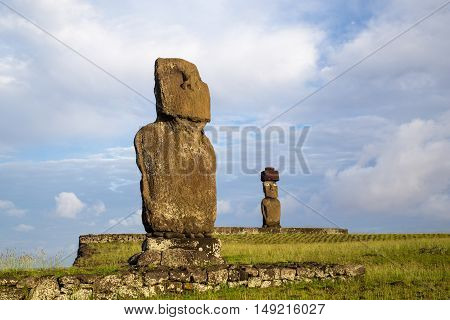 Two moai statues at Ahu Tahai on Easter Island in Chile
