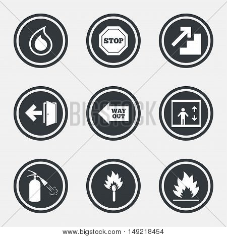 Fire safety, emergency icons. Fire extinguisher, exit and stop signs. Elevator, water drop and match symbols. Circle flat buttons with icons and border. Vector