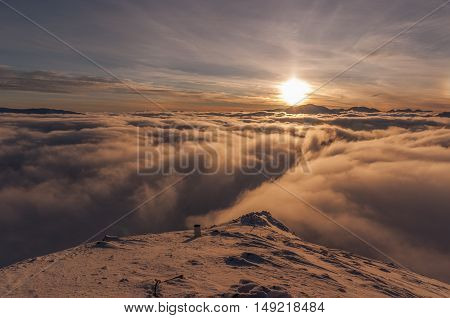 Sunset during inversion. The Tatra Mountains. Poland