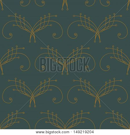 Elegant ocher yellow thin line damask seamless pattern on dark green. Thin line decoration. Damask pattern. Seamless abstract background. Infinity geometric pattern. Vector illustration.