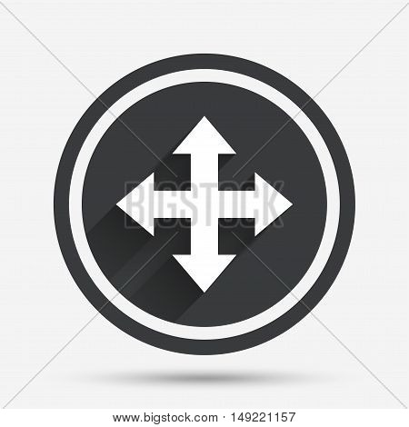 Fullscreen sign icon. Arrows symbol. Icon for App. Circle flat button with shadow and border. Vector