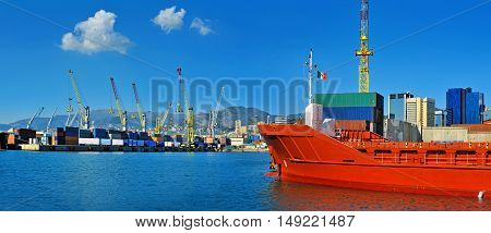 General cargo ship waiting for cargo in the port Genova, Italy,