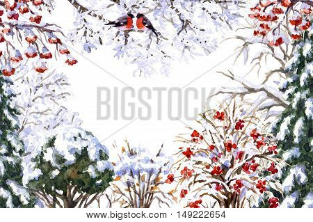 Hand drawn watercolor illustration. Set of various winter trees and bush. Evergreen and deciduous snow covered plants and sitting bullfinches. Wintertime rectangle frame.
