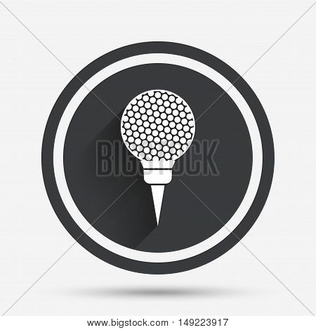 Golf ball on tee sign icon. Sport symbol. Circle flat button with shadow and border. Vector