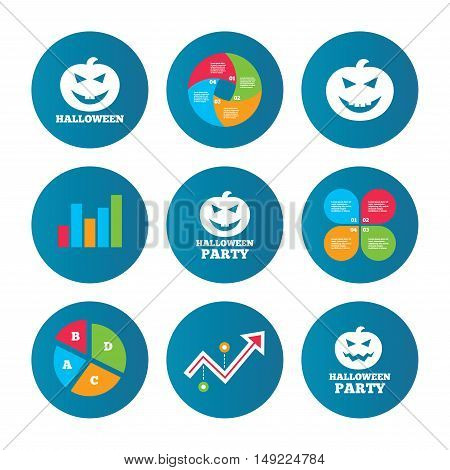 Business pie chart. Growth curve. Presentation buttons. Halloween pumpkin icons. Halloween party sign symbol. All Hallows Day celebration. Data analysis. Vector