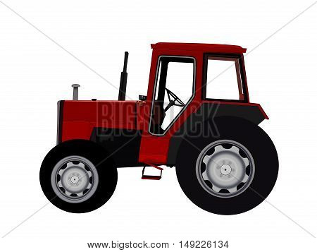 Illustration of a red tractor over a white background.
