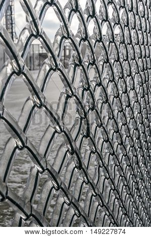 Background. Metal grid in ice. In winter the rain and froze on the fence mesh.