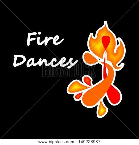 illustration with beautiful logo on the theme of fire dances.