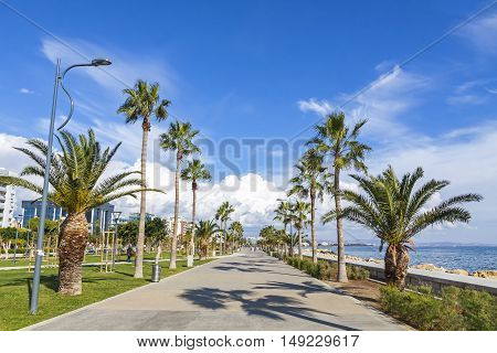 Promenade Alley At Molos Park In Center Of Limassol, Cyprus