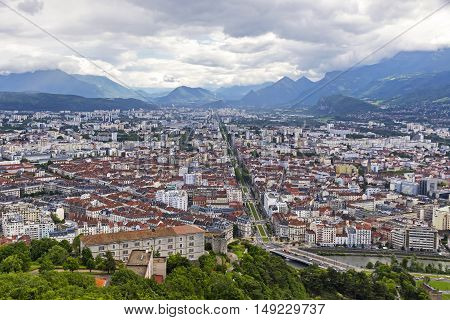 Picturesque Aerial View Of Grenoble City, France