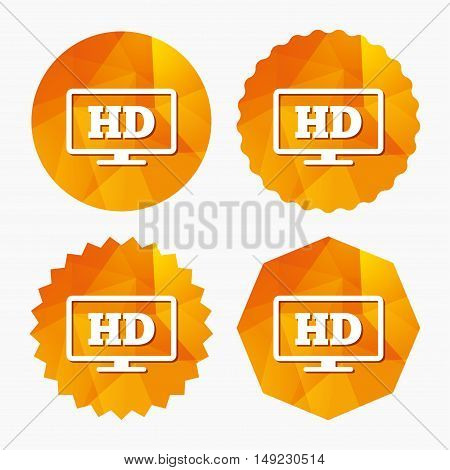 HD widescreen tv sign icon. High-definition symbol. Triangular low poly buttons with flat icon. Vector