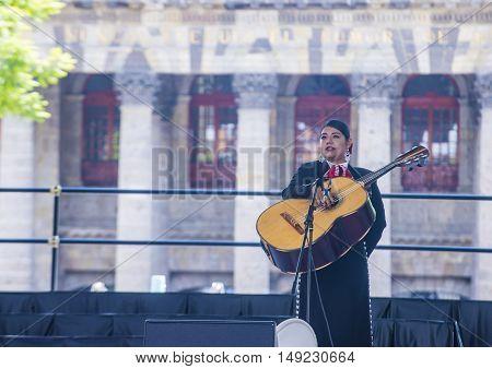 GUADALAJARA MEXICO - AUG 28 : Mariachi performs on stage at the 23rd International Mariachi & Charros festival in Guadalajara Mexico on August 28 2016.