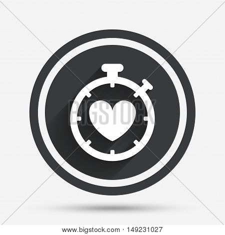 Heart Timer sign icon. Stopwatch symbol. Heartbeat palpitation. Circle flat button with shadow and border. Vector