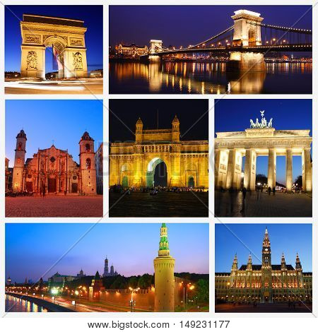 Night Shots Collage of beautiful Travel Images