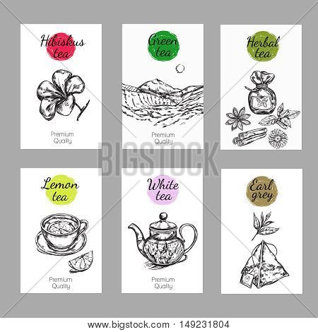 Tea label set with hibiscus green herbal lemon white and earl grey tea descriptions vector illustration