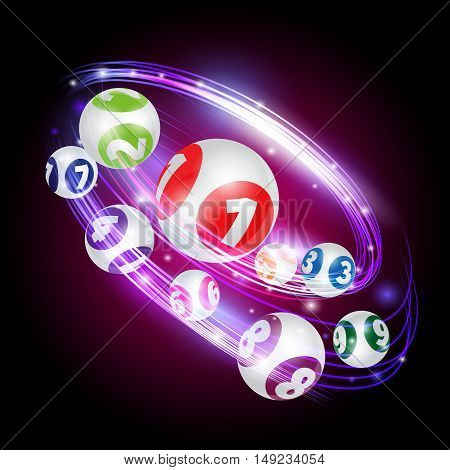 Vector set of lottery balls. Bingo lotto numbers.