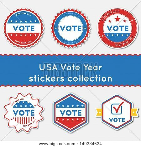 Usa Vote Year Stickers Collection. Buttons Set For Usa Presidential Elections 2016. Collection Of Bl